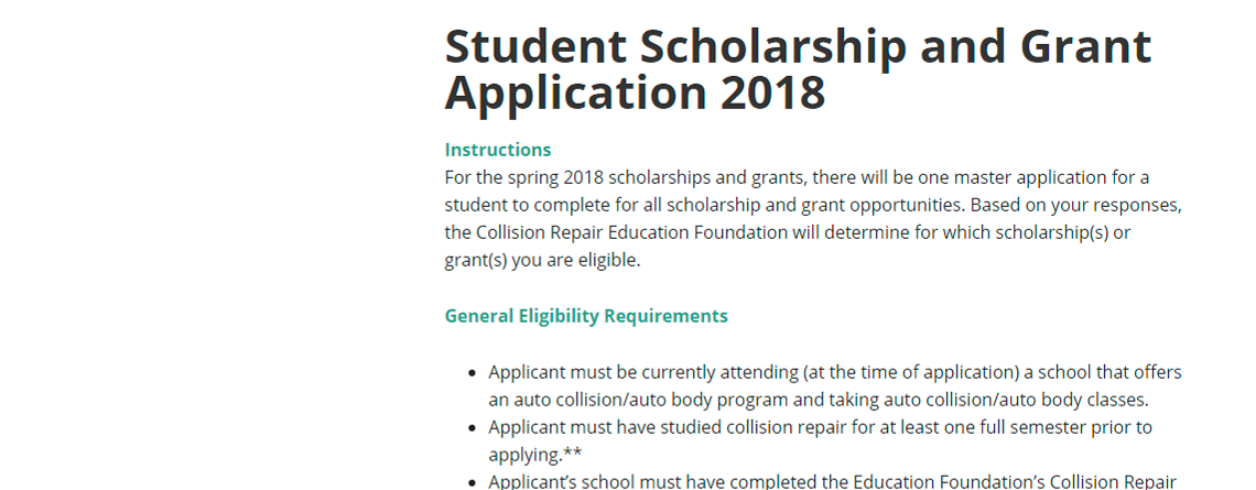 DEADLINE FOR COLLISION REPAIR EDUCATION FOUNDATION SPRING SCHOLARSHIP APPLICATIONS FEBRUARY 15
